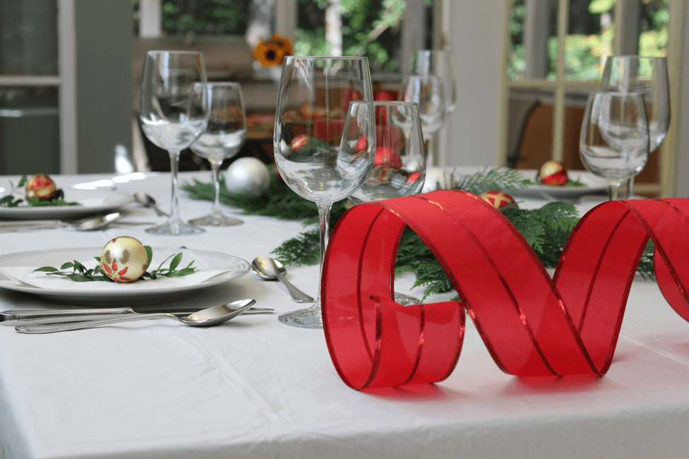 natal mesa decoracao fita