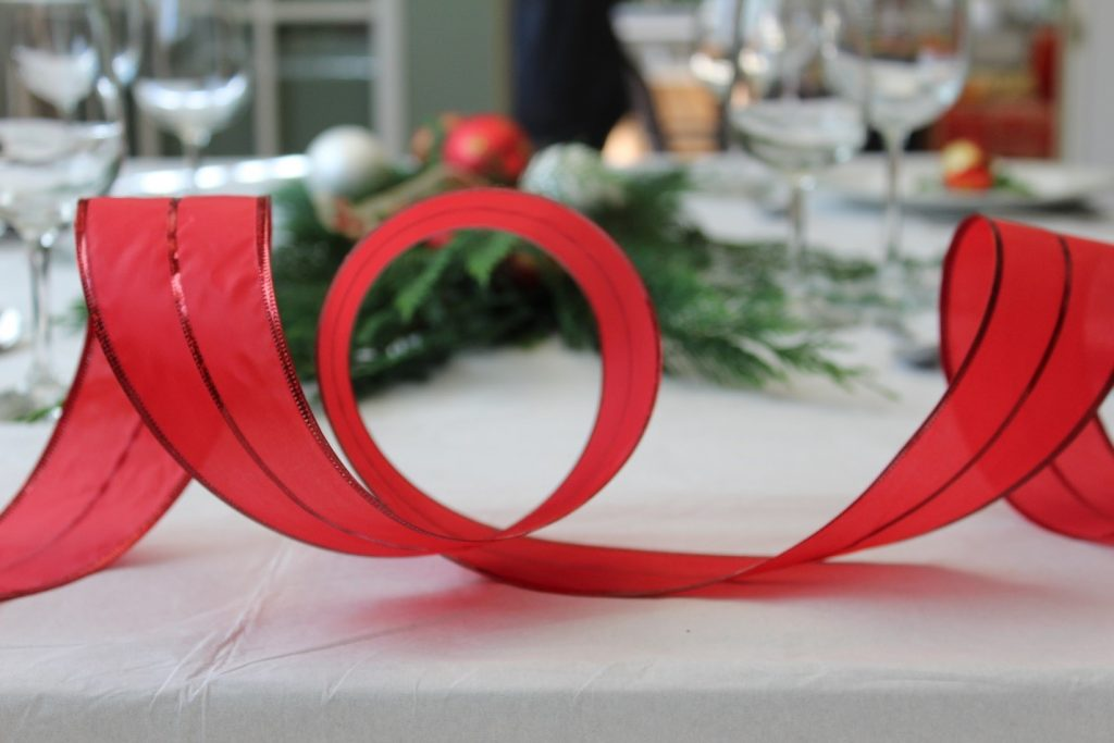 mesa natal decoracao fita